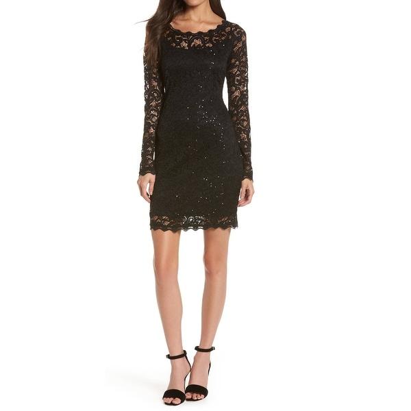 Camille La Vie Black Womens Size Small S Lace Sequinced Sheath Dress