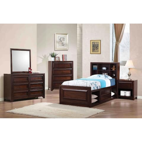 Joanna Transitional Maple Oak 4-piece Twin Storage Bedroom Set