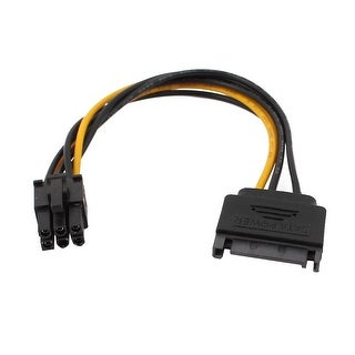 PCI Express 8-Inch 15-Pin Male to 6-Pin SATA Power Splitter Cable Adapter