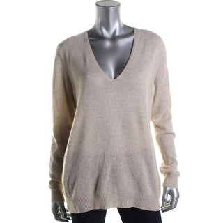 Theory Womens Cashmere Ribbed Trim Pullover Top - L