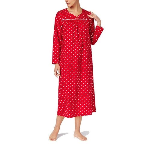 54e09426e4c Charter Club Women s Flannel Lace-Trim Nightgown Chemise Candy Red Dot Size  Extra Small -