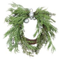 """Iced Cedar Artificial Christmas Wreath with Silver Ornaments and Bells - 24"""" Unlit - green"""