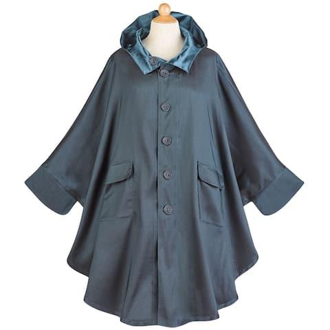 Lindi Women's Batwing Sleeve Hooded Rain Coat -Satin Finish to Matte Reversible