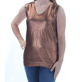 Womens Gold Sleeveless V Neck Casual Top Size M