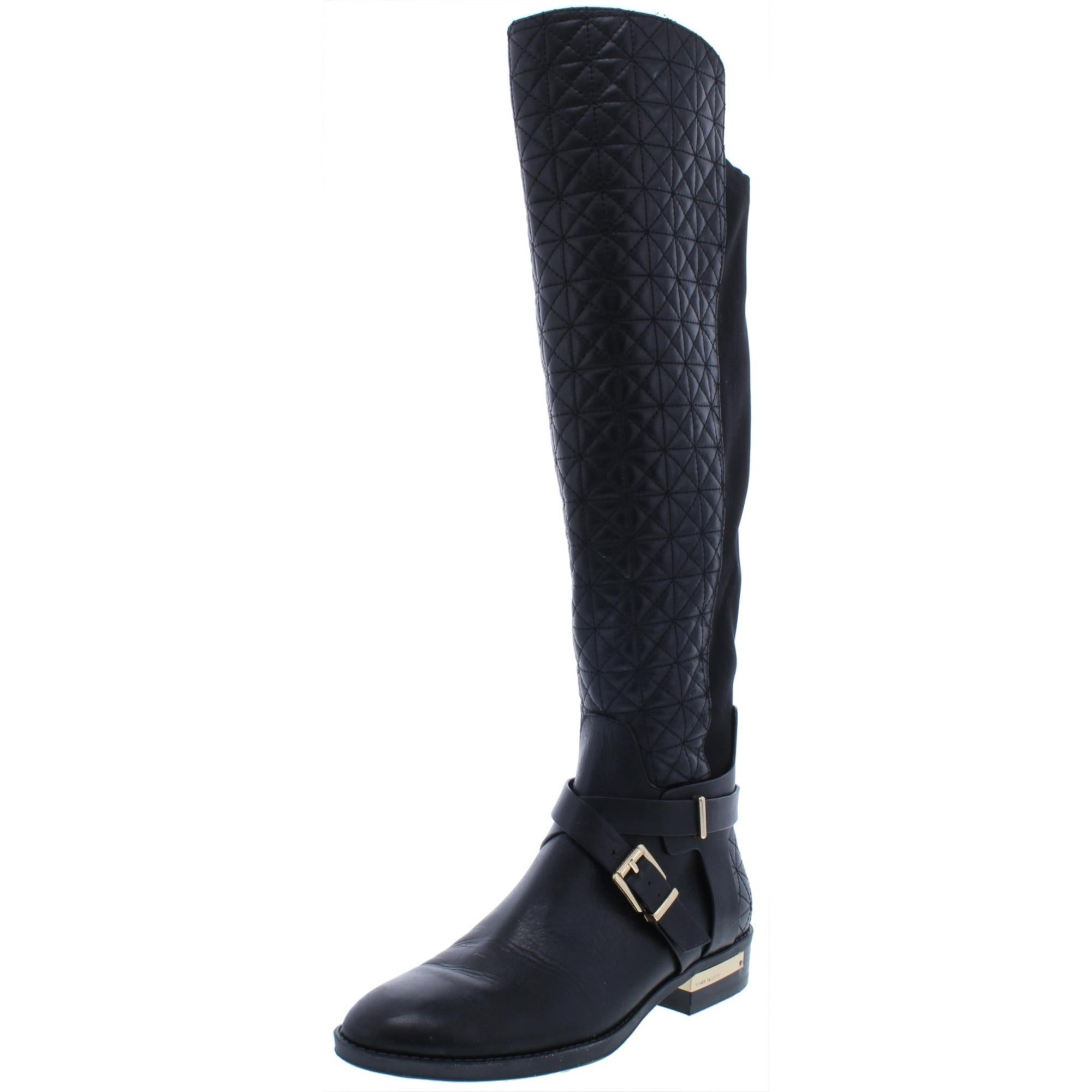 The-Knee Boots Wide Calf Quilted