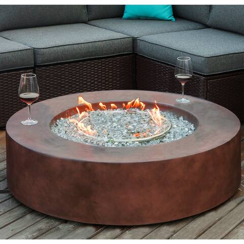 COSIEST Outdoor Propane Fire Pit Coffee Table With Round Base
