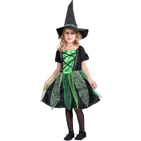 Eraspooky Kids Baby Girls Halloween Costume Witch Clothes Party Dress&Hat Outfit