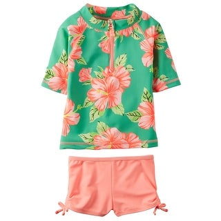 Carter's Baby Girls' 2 Piece Floral Rashguard Set, 12 Months