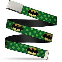 Blank Chrome  Buckle Bat Shield Clovers Green Black Yellow Webbing Web Belt
