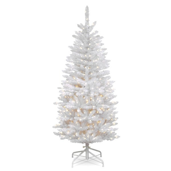 White 4 Foot Christmas Tree: Shop 4.5' Pre-Lit Kingswood White Fir Pencil Artificial