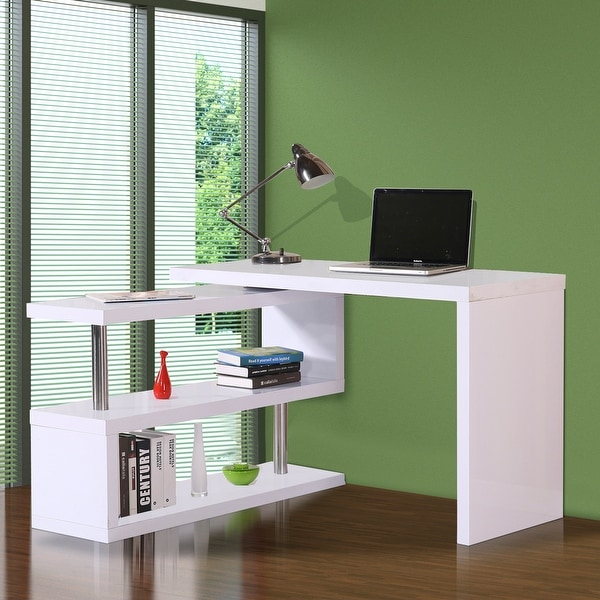 "HOMCOM 75"" Modern Corner Rotating Combo L-Shaped Computer Desk With 2 Storage Shelves - White. Opens flyout."