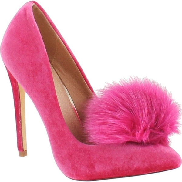Liliana Affair Velvet Pointy Toe Stiletto High Heel Fur Pom Slip On Pump Slide - Fuchsia