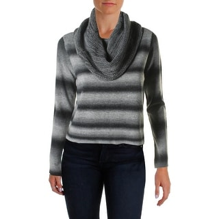 BB Dakota Womens Juniors Striped Long sleeves Funnel-Neck Sweater