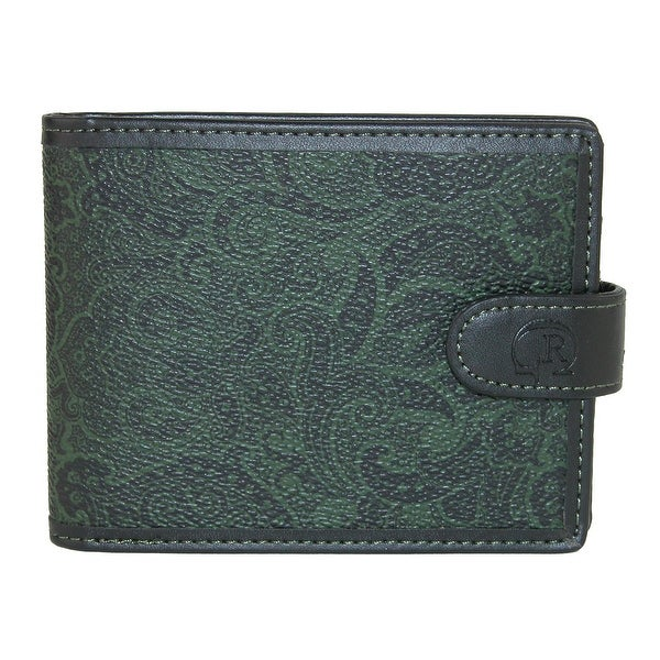 Robert Graham Men's Faux Leather Paisley Bifold Wallet with Snap Closure - One size