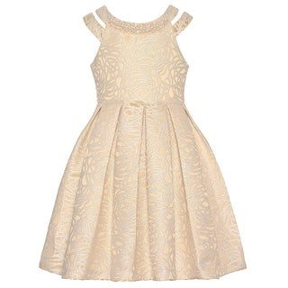 Bonnie Jean Girls Gold Bejeweled Neckline Embroidered Pleated Dress