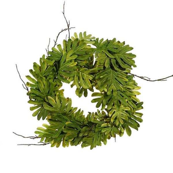 """26"""" Green and Brown Philondrendon Leaves and Twigs Artificial Tropical Wreath"""