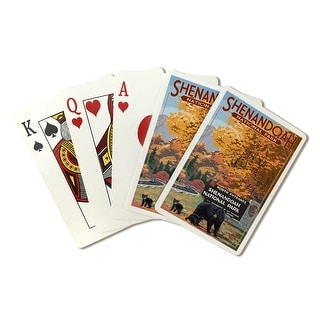 Shenandoah National Park, Virginia - Black Bear & Cubs at Entrance - Lantern Press Artwork (Poker Playing Cards Deck)