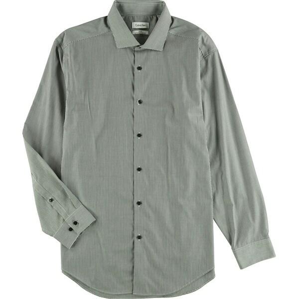 "Calvin Klein Mens Plaid Button Up Dress Shirt, black, 17"" Neck 32""-33"" Sleeve - 17"" Neck 32""-33"" Sleeve. Opens flyout."