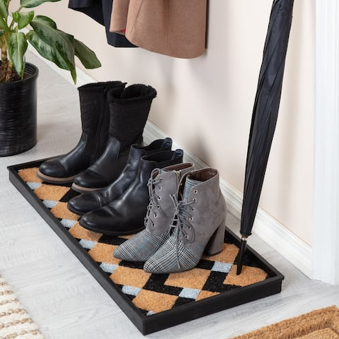 Jani Natural & Recycled Rubber Boot Tray with Tan & Black Chevron Coir Insert