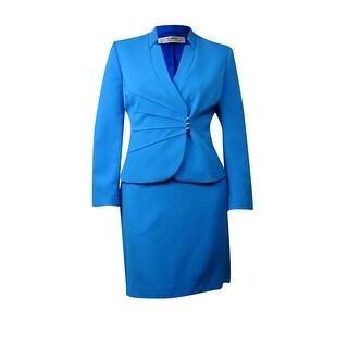 Tahari Women's Stand Collar Pintucked Skirt Suit 14, Ocean Blue - ocean blue - 14