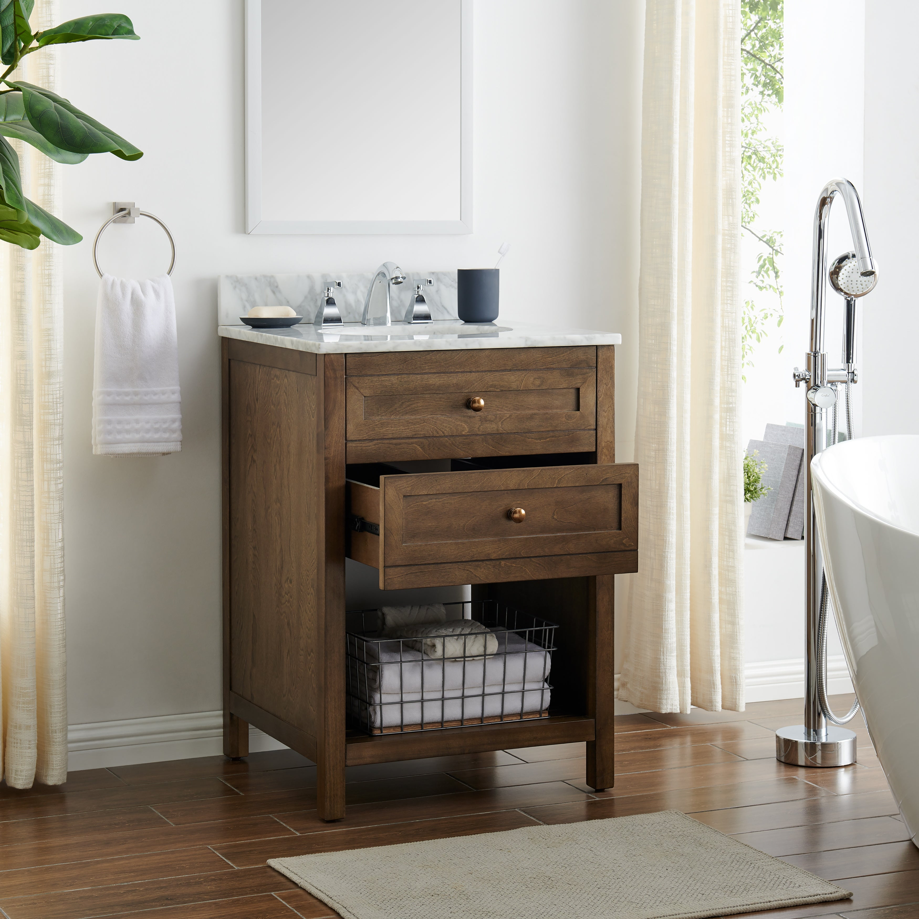 Shop Black Friday Deals On The Gray Barn Pennington Farmhouse Brown Stone 24 Inch Bath Vanity On Sale Overstock 28860302