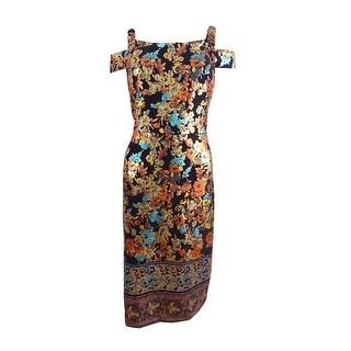 ECI Women's Cold-Shoulder Sheath Dress (8, Black/Teal) - black/teal - 8