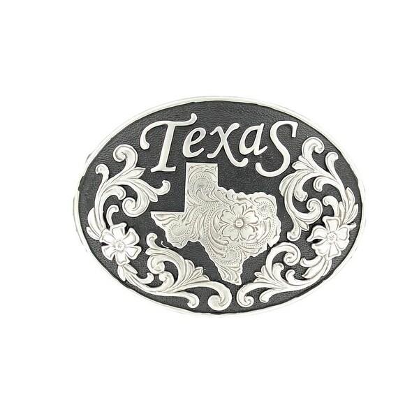 Nocona Western Belt Buckle Oval Texas Silver Black - 3 x 4