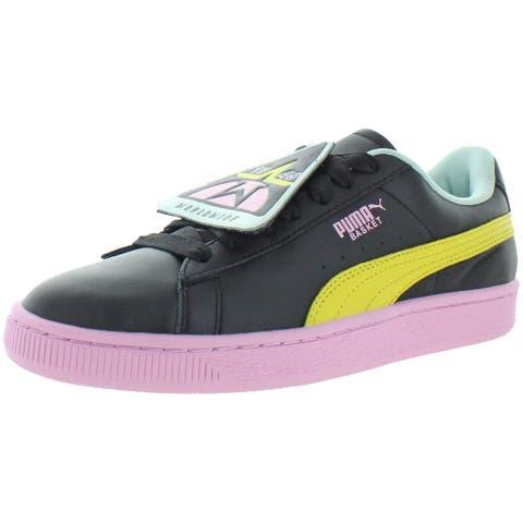 Puma Womens Basket Badge TZ Fashion Sneakers Athleisure Lifestyle - Puma Black/Blazing Yellow