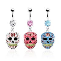 Sugar Skull Epoxy Dangle Navel Belly Button Ring 316L Surgical Steel