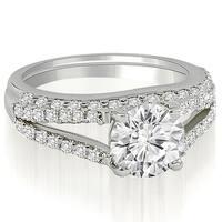 1.32 cttw. 14K White Gold Cathedral Split Shank Round Cut Diamond Bridal Set