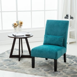 Link to Porch & Den Vista Chenille Upholstered Armless Accent Chair with Matching Kidney Pillow Similar Items in Living Room Chairs