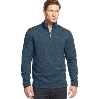 Club Room Quarter Zip Mock Neck Fleece Sweater Atlantic Tide Blue Small S