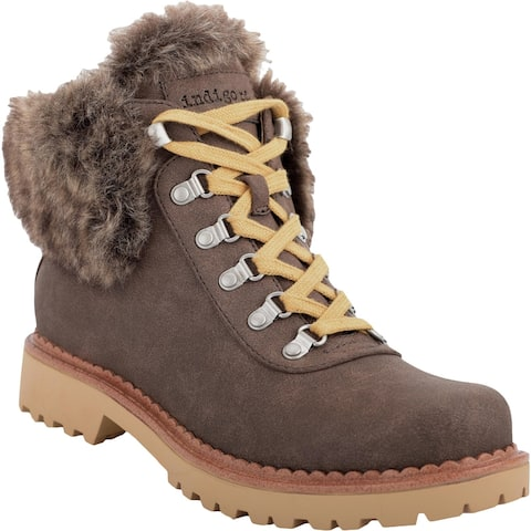 Indigo Rd. Womens Cicela Hiking Boots Faux Leather Lace-Up