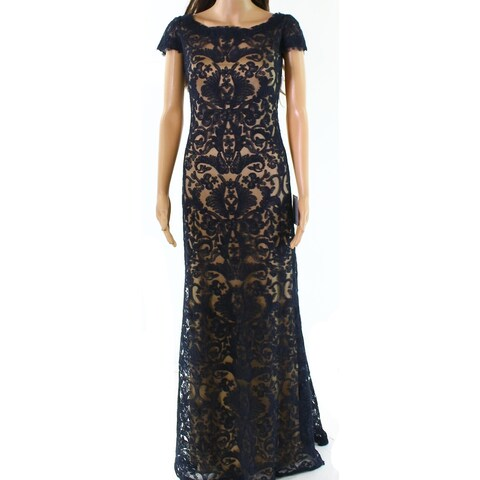 Tadashi Shoji Womens Lace Embroidered Sheer Gown
