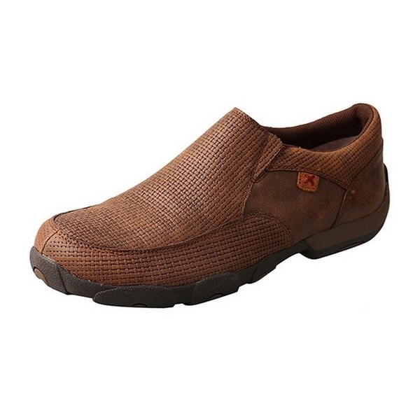 Twisted X Casual Shoes Mens Driving Mocs Slip On Rubber Brown