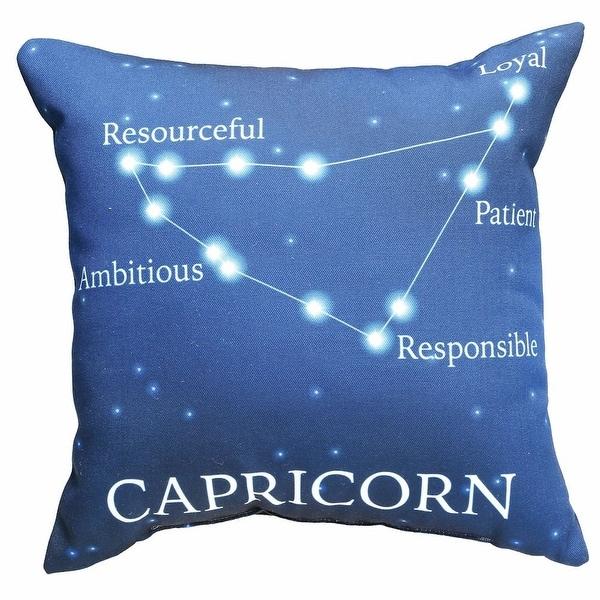 Horoscope Navy Blue Decorative Throw Pillow Capricorn