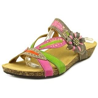 Spring Step Tia Women Open Toe Leather Slides Sandal