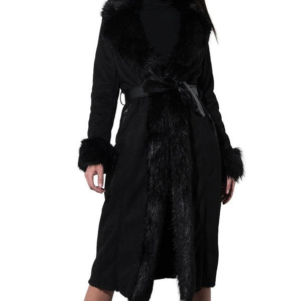 A Million Reasons Fur Trim Suede Trench Coat