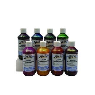 Sax Liquid Watercolor Paint, 8 Ounces, Assorted Glitter Colors, Set of 6