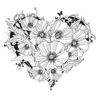 "Poppy Heart - Indigoblu Cling Mounted Stamp 5""X4"""