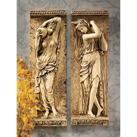 Design Toscano Water Maidens Wall Friezes: Set - 7 x 3.5 x 22