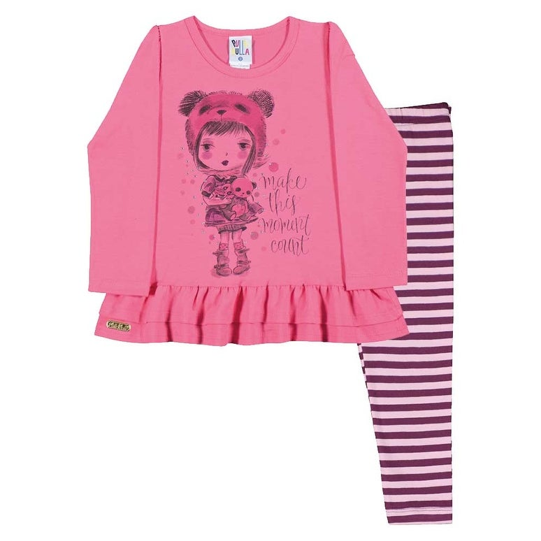 Toddler Girl Outfit Long Sleeve Shirt and Striped Leggings Pulla Bulla 1-3 Years - Thumbnail 0