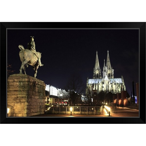 """""""Cologne at night with Cologne Cathedral,"""" Black Framed Print"""