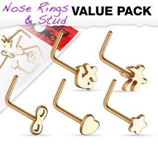 5 Pcs Value Pack Mixed L Bend Nose Rings - 20GA
