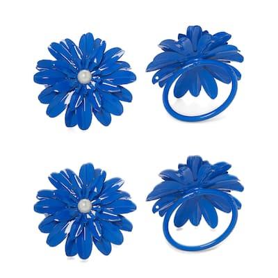 Flower Napkin Rings Set of 12 (Blue Pearl)