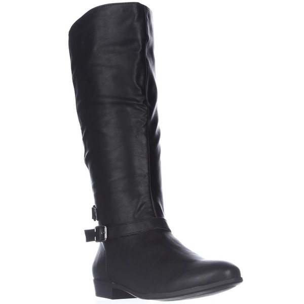 SC35 Faee Knee-High Flat Riding Boots, Black