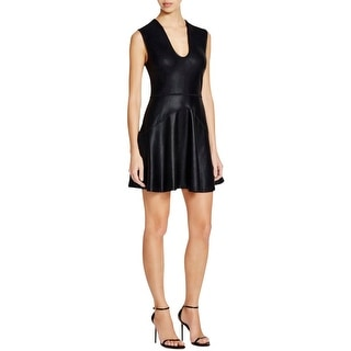 French Connection Womens Twilight Shine Skater Dress Coated Shimmer