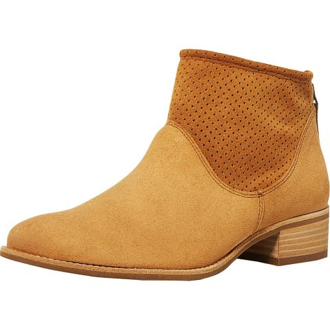 Paul Green Womens Addison Ankle Boots Suede Perforated - Cognac