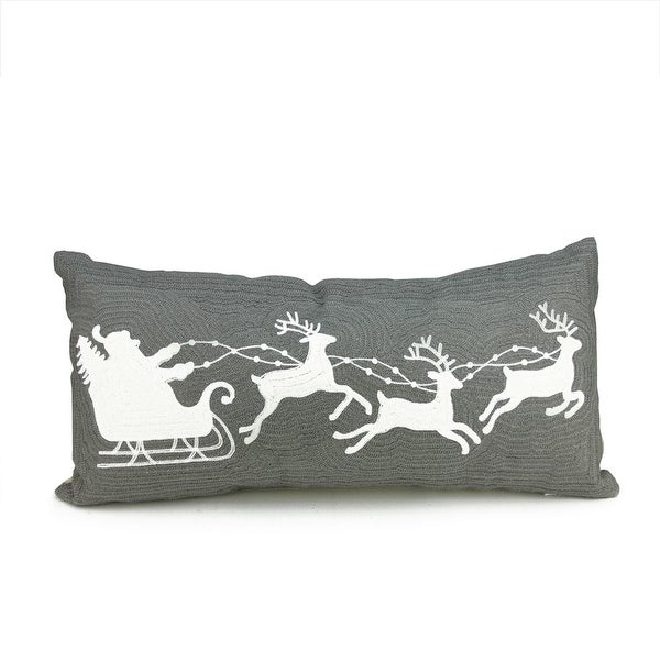 "23"" Winter Light Gray and White Santa, Sleigh and Reindeer Decorative Christmas Throw Pillow"