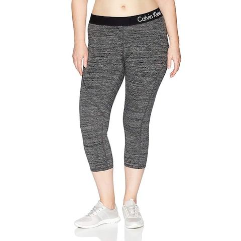 Calvin Klein Performance Women's Plus Size Logo Elastic Seamed Crop Legging Black Heather Size Large